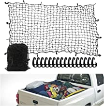 7` x 5` Heavy Duty Bungee Cord Cargo Net Stretches to 14` x 10`-Latex Truck Bed Mesh with 12Pcs Free Adjustable Hooks for Secure Carrying on Roof Luggage Rack,Cargo Carrier and Pickup Truck Bed