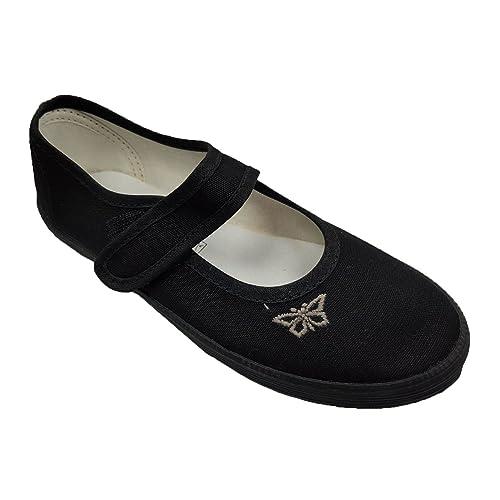 a360cb7f8d3b scbonline Girls Black School PE Velcro Pumps Plimsoles Shoes Shoes Size 8-4
