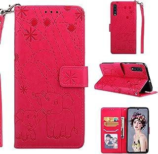 comprar comparacion YKTO Flexible Funda para Samsung Galaxy A70 2019 Auténtica Premium Tipo Libro Piel Rojo Case Carcasa Plegable Cartera Mult...