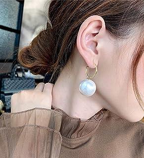 Aimimier Bridal Large Pearl Drop Dangle Earrings Half Open Hoop Earrings with Pearl Pendant Wedding Ear Jewelry for Women ...