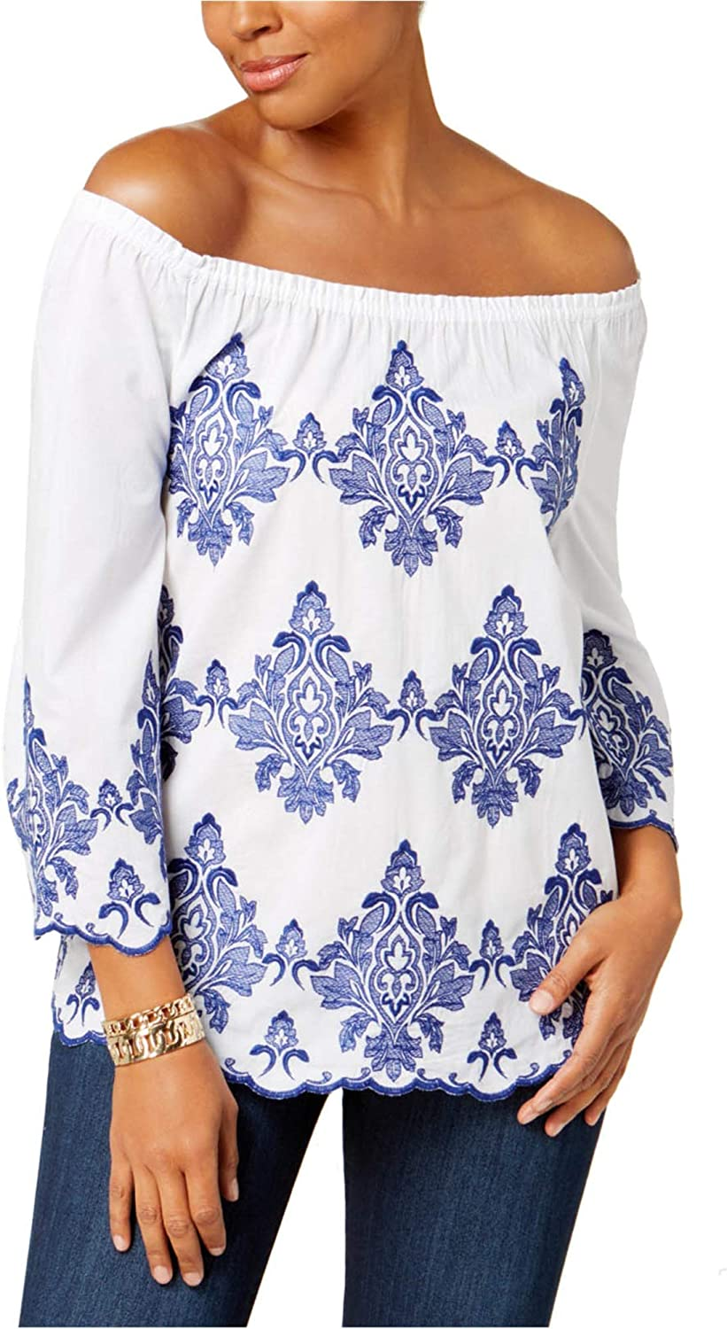 Charter Club Womens Embroidered Off The Shoulder Blouse