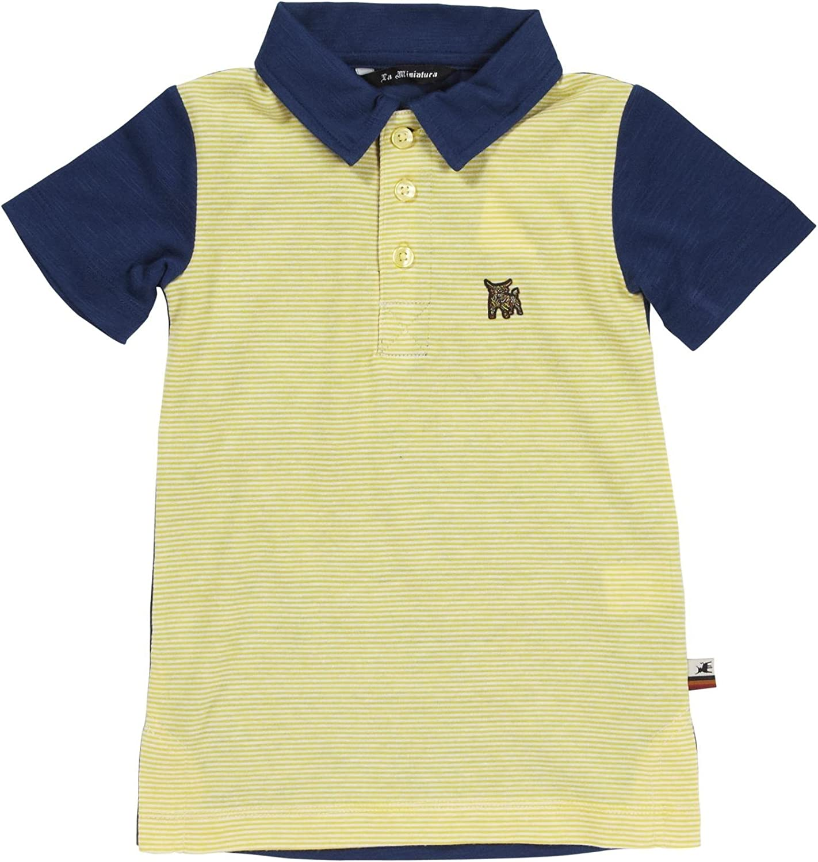 La Miniatura Boys' Striped Polo (Toddler/Kid) - Lemon/Navy - 12