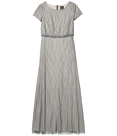 Adrianna Papell Long Beaded Blouson Gown (Pewter/Silver) Women