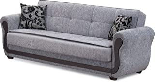 BEYAN Surf Avenue Collection Tufted Large Folding Sofa Sleeper Bed with Storage Space and Includes 2 Pillows, Gray