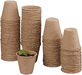 MMBOX Cultivation Potts in The Set, Biodegradable, para Plantas, 50 Piezas de macetas, celulosa, Redondo, 8 cm, Color Beige