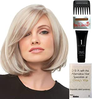Bundle - 5 items: Kristi Wig by Jon Renau, Christy's Wigs Q & A Booklet, 2oz Travel Size Wig Shampoo, Wig Cap & Wide Tooth Comb - Color: 101F48T