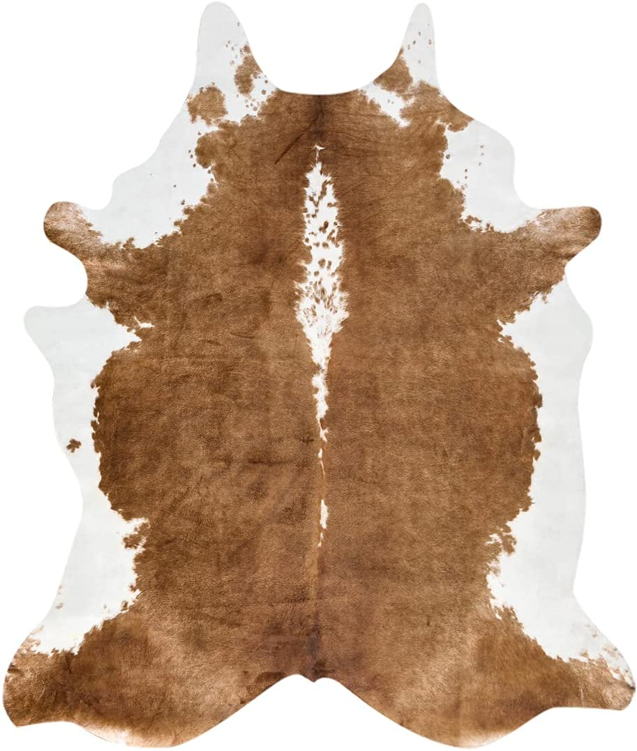 BENRON Premium Faux Cowhide Rug, 55x62 Inches Soft Brown Cow Print Rugs for Living Room Bedroom Western Decor, Cute Animal Faux Cow Hide Carpet for Nursery