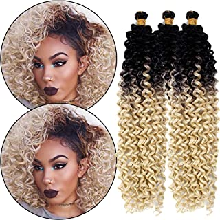 Water Wave Twist Hair Passion Crochet Braids Hair Goddess Synthetic Fiber Ombre Black Blonde Hair Extensions for American Women (1B 613 3piece)