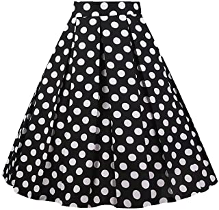 Girstunm Women's Pleated Vintage Skirt Floral Print...