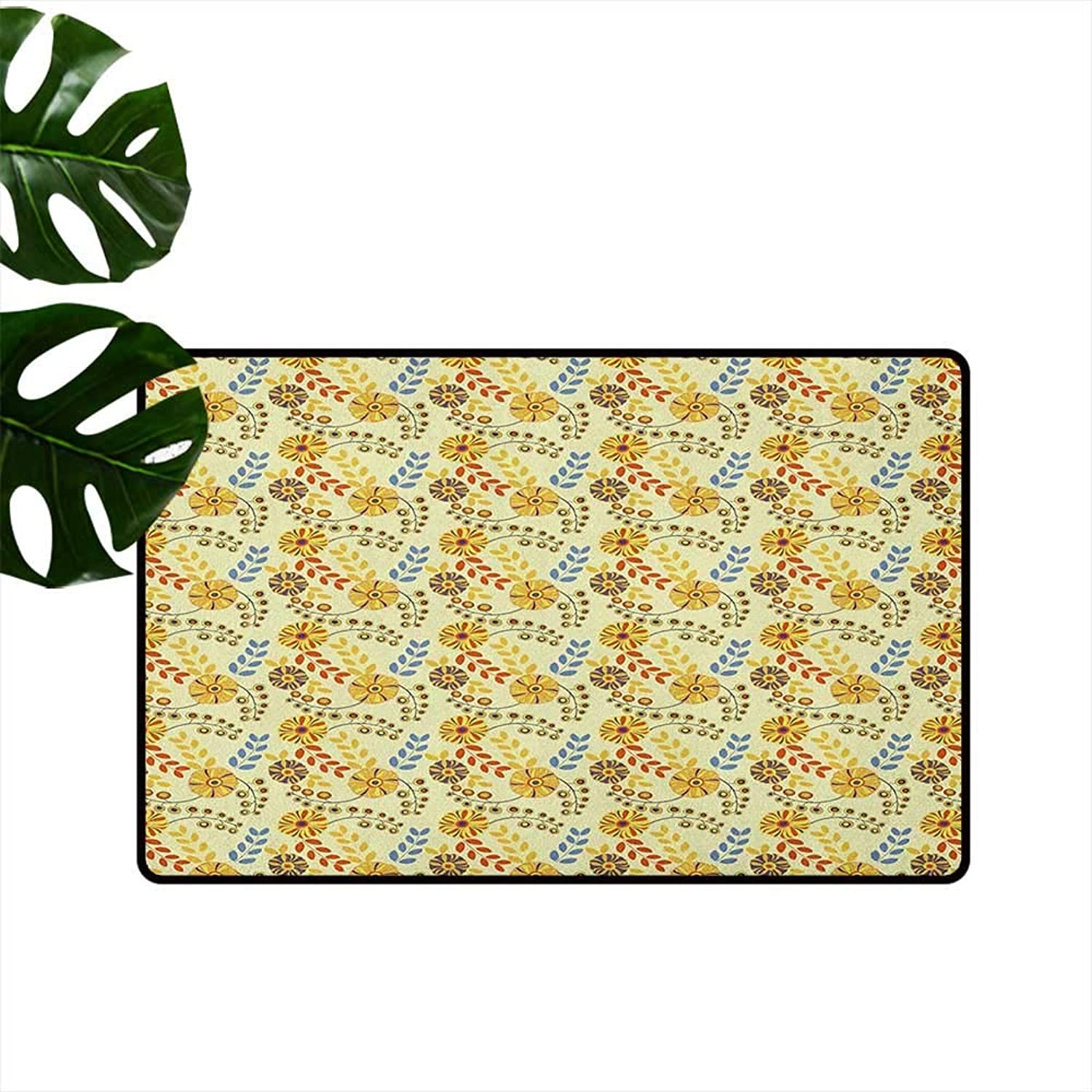 Yellow Entrance Door mat Old Fashioned Abstract Flowers Nostalgia Vintage Design Gardening Plants Foliage Hard and wear Resistant W35 x L59 Multicolor