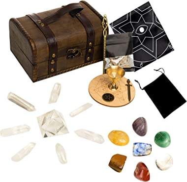 HEXER HAN Crystals and Healing Stones Set, 24 PCS 7 Chakra Balancing Crystals Wands and Energy Generator Altar Kit with Tumbl