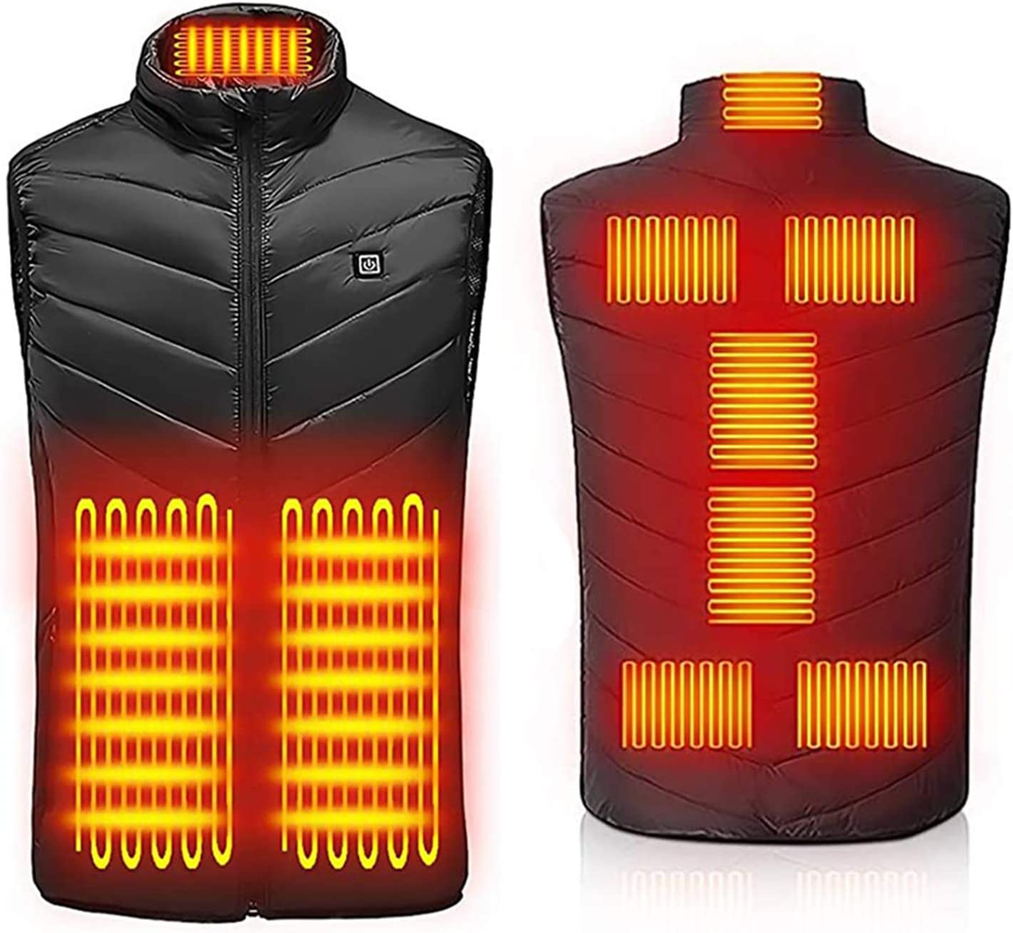 USB Rechargeable Heated Waistcoat Winter Body Warmer Jacket Heated Gilet Coat for Outdoor Activities Electric Heated Vest Power Bank Not Included