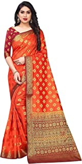Women's Orange color Cotton Silk Saree
