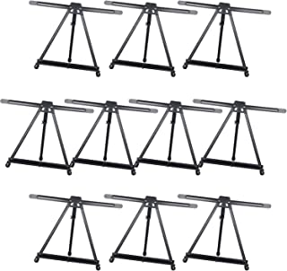MEEDEN Table Top Easels for Painting - Ehanced Double Arm Tripod Display Easel - Made of Aluminium, Lightweight, Portable, and Secure - 10 Packs (Black)