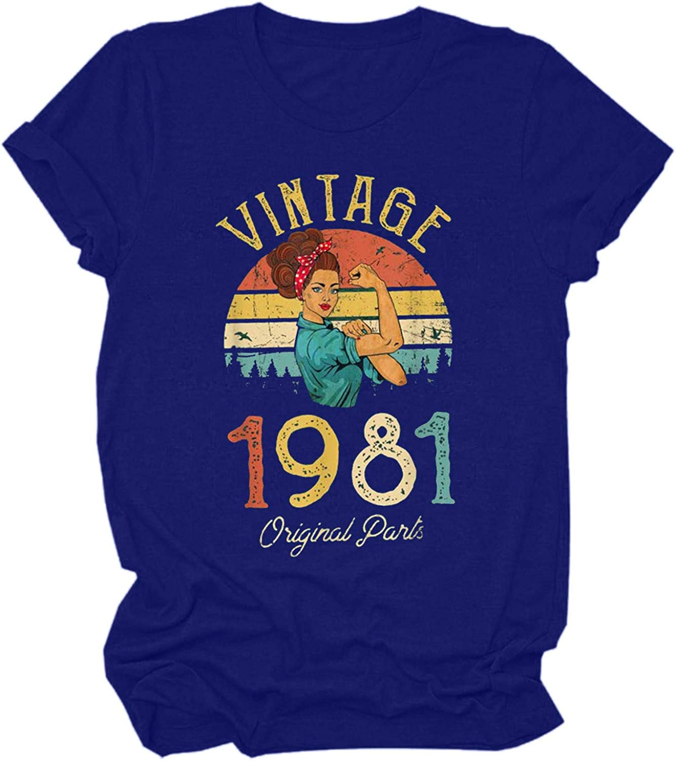 40th Birthday T Shirts for Women Retro Birthday Graphic Tees Shirt Vintage 1981 Original Parts Funny Casual Tops