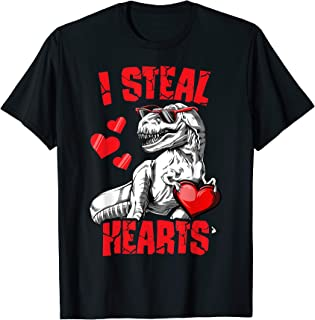 Boys Valentines Day Kids Dinosaur T rex Lover I Steal Hearts T-Shirt