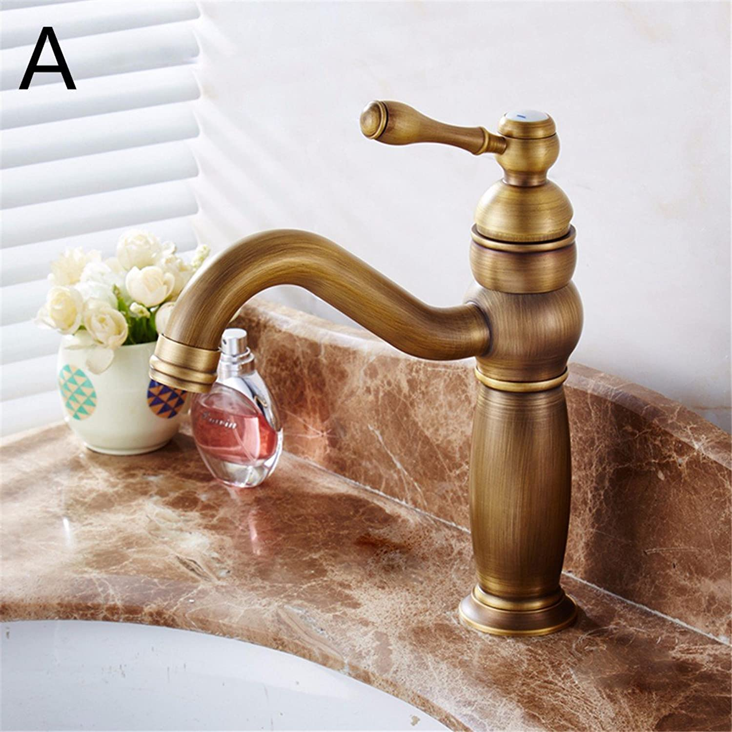 Hlluya Professional Sink Mixer Tap Kitchen Faucet Antique-brass swivel hot and cold Bathroom Cabinet basin taps,