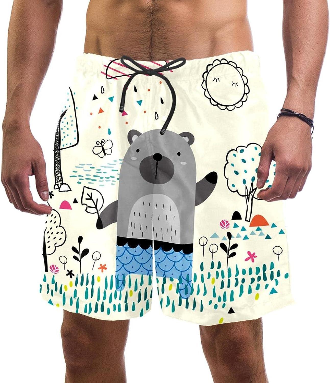 Men's Beach Shorts Hand Drawn Bear Quick Dry New popularity T Short Phoenix Mall Garden Swim