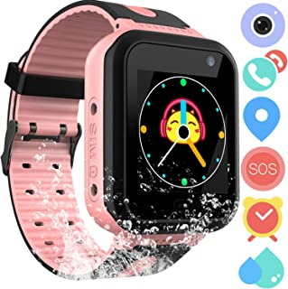 Kids Waterproof Smartwatch Phone - Touchscreen Smart Watch LBS Locator with Dial Camera Voice Chat SOS Flashlight Alarm Clock Game Wristwatch Boys Girls Birthday Gift Compatible with iOS Android,Pink