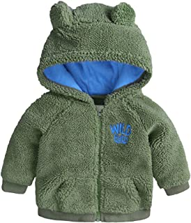 Newborn Infant Baby Boys Girls Cartoon Fleece Hooded Jacket Coat with Ears Warm Outwear Coat Zipper Up