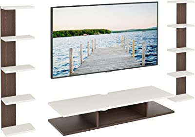 """BLUEWUD Estoye Engineered Wood TV Entertainment Wall Unit/Set Top Box Stand for Living Room -Ideal for Upto 36"""" Tv (White Finish)"""