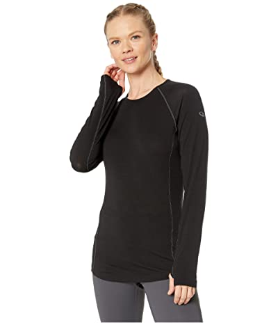 Icebreaker 150 Zone Merino Baselayer Long Sleeve Crew (Black/Mineral) Women