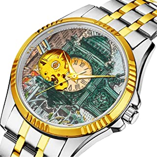 Casual Men Automatic Mechanical Watch Luxury Brand Casual Sports Watches for Male Personality dial & Clear Window 583.Watch - Marshall Field State Street Clock Chicago