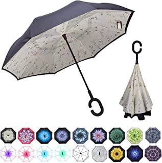 WASING Double Layer Inverted Umbrella Cars Reverse Umbrella, Windproof UV Protection Big Straight Umbrella for Car Rain Ou...