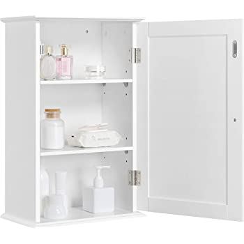 Yaheetech Wall Mounted Bathroom Storage Cabinet Single Door Wooden Cupboard With 3 Tiers Shelves White Amazon Co Uk Kitchen Home