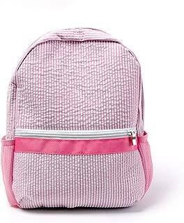 2-5 Years Personalize Seersucker Backpack Toddler Backpack Preppy Kids School Bookbag (Pink)