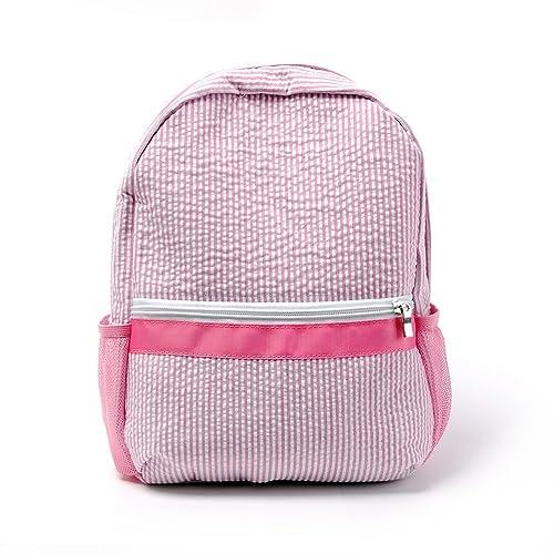 2-5 Years Personalize Seersucker Backpack Toddler Backpack Preppy Kids  School Bookbag (Pink) 8812288ed337d