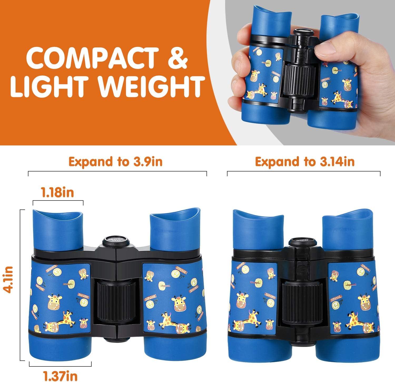 Camping Waterproof Folding Small Kids Telescope for Bird Watching,Travel Newraturner Rubber 4x30mm Toy Binoculars for Kids Orange
