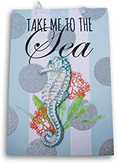 Greenbrier International Take Me to The Sea Glittery Summer Hanging Welcome Sign - 9 x 13.5 Inches