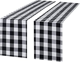 Syntus 2 Pack 14 x 108 inch Buffalo Check Table Runner Cotton-Polyester Blend Handmade Black and White Plaid for Family Dinner, Outdoor or Indoor Parties, Thanksgiving, Christmas & Gathering
