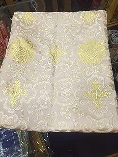 Tibetan Buddhist Traditional White Lotus Design Silk Brocade/Fabrics/Fabric Cloth/from Nepal
