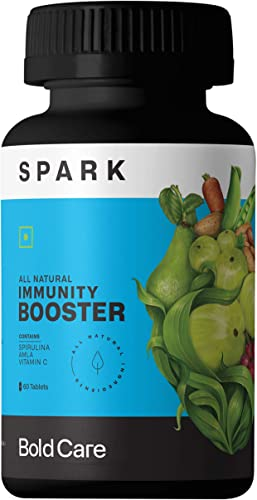 Bold Care Spark Immunity Booster for Adults Kids Spirulina Amla Vitamin C Vitamin B6 Vitamin E Zinc All Natural Supplements for Daily Health 60 Tablets