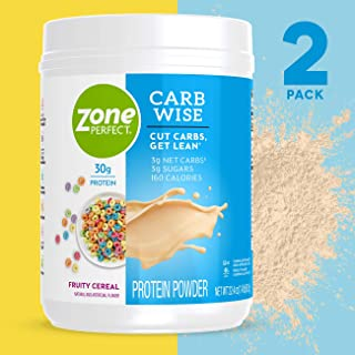 ZonePerfect Carb Wise High-Protein Powder, Fruity Cereal Flavor, for A Low Carb Lifestyle, with 30g Protein, 1.4 lbs, 2 Count