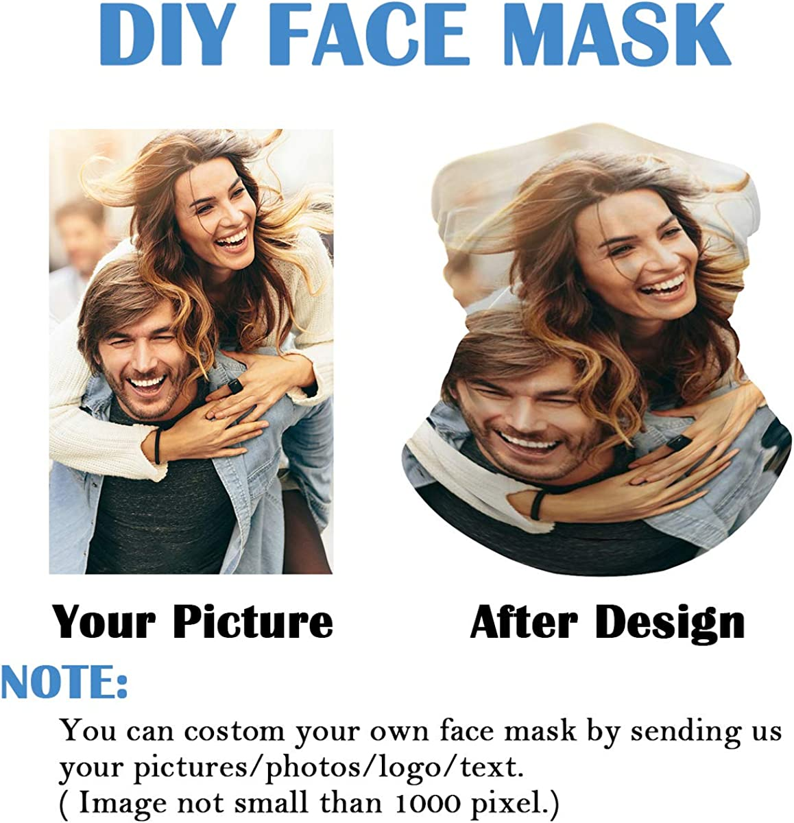 Custom Face Mask Reusable for Men & Women, Personalized Customized Neck Gaiter for Cycling, Fishing, Hiking, Outdoors