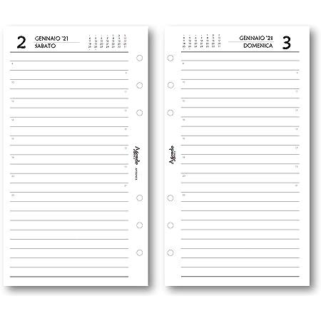 9,5 x 17 Ricambio agenda 2021 con 2 PAGINE PER GIORNO bianco ricambio a 6 fori GIORNALIERO agenda organizer