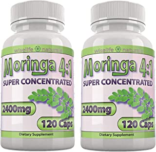 Moringa Oleifera Capsules: 4X Potency Moringa Powder – Super Greens Supplement..