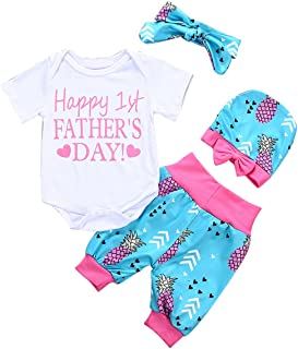 Happy 1st Father's Day Baby Girls Outfit Set Romper+Pants+Headband+Hat 4Pcs Set