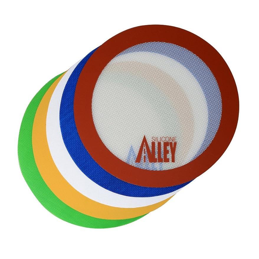 繊維優先権慣れるノンスティックマットパッド [楽しい5色] - シリコンローリングベーキングペストリープレースマット ラージ ラウンド 9.5インチ - (バリューパック - 5枚セット