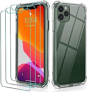 ivoler Funda para iPhone 11 Pro MAX 6.5 Pulgadas + [3 Unidades] Cristal Templado Protector de Pantalla, Ultra Fina Silicon...