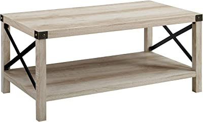 Walker Edison Sedalia Modern Farmhouse Metal X Coffee Table, 40 Inch, White Oak