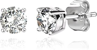 14k Gold Plated Sterling Silver Cubic Zirconia Classic Basket Prong Set Stud Earrings