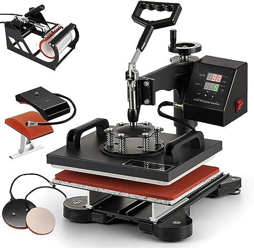 lowest SHZOND lowest Heat Press Machine 12 x 10 Inch 360 popular Degree Swing-Away Heat Press Multifunction Sublimation T Shirt Press Machine Transfer Printer (5IN1) online