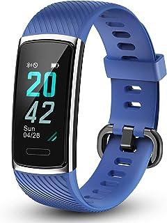 LETSCOM - Pulsera de Fitness con pulsómetro, Resistente al Agua, Contador de calorías, podómetro, Monitor de sueño, Pantalla a Color, IP68, Resistente al Agua para niños, Mujeres y Hombres