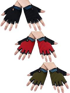 3 Pairs Kids Half Finger Gloves Sport Gloves Non-Slip Gel Gloves for Children 6-10 Years Cycling Biking