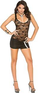 Elegant Moments Women's Plus-Size Lace and Lycra Mini Dress with Sequin Applique
