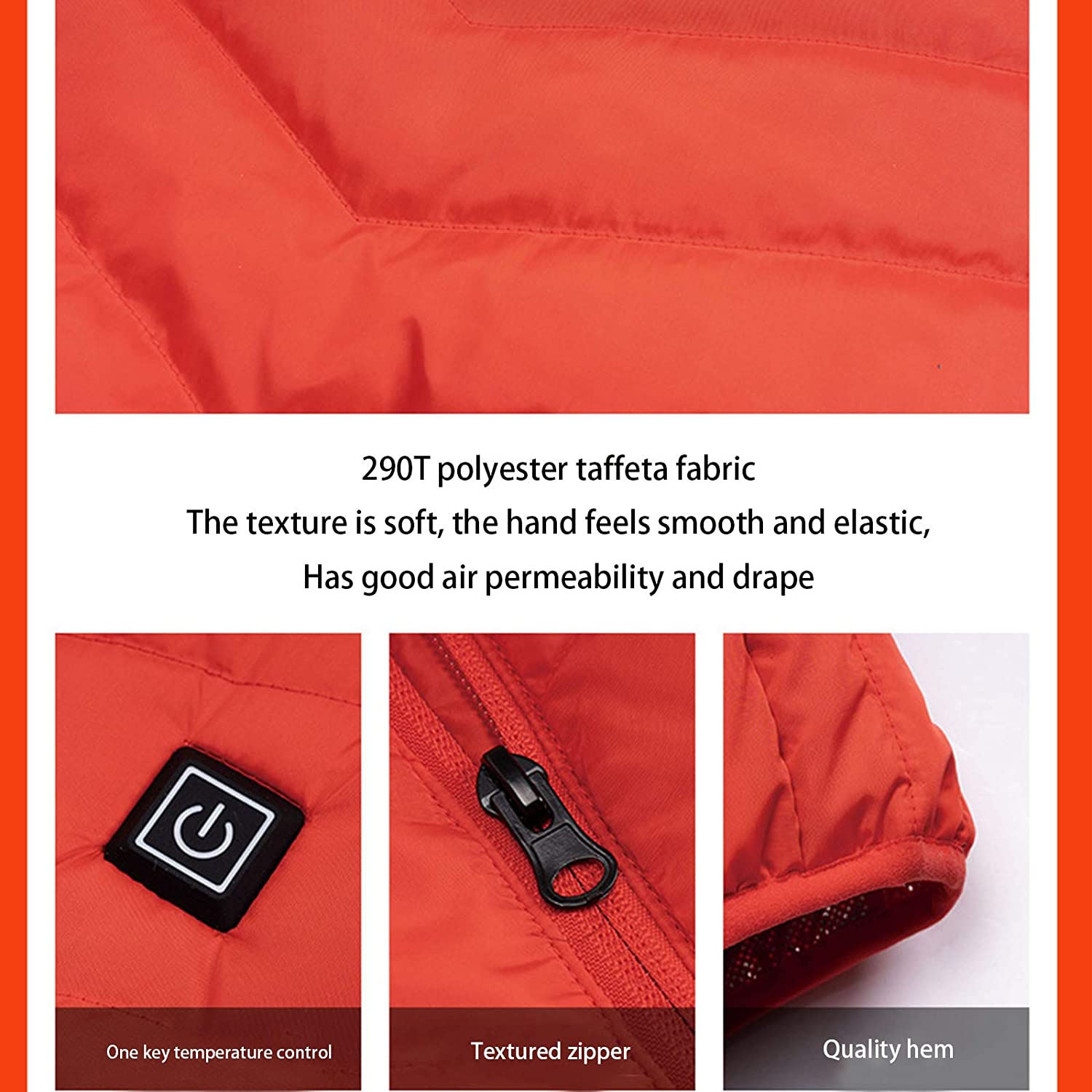 Hiking Keep The Whole Body Warm Suitable for Outdoor Activities Heated Vest Hunting,Red,S USB Charging Heating Vest Smart Warm Winter Cotton Jacket for Men and Women